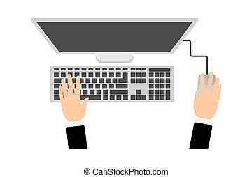 billentyűzet computer, monitor, kézbesít