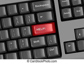 billentyűzet, kulcs, segítség