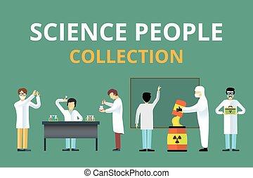 biológia, emberek, tudomány, sugárzás, vektor, laboratórium