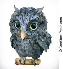 bird., furcsa, owl., vektor, éjszaka, animal., 3, ikon