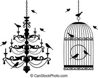 birdcage, csillár, madarak