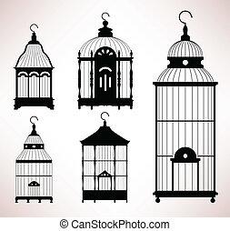 birdcage, kalitka, retro, szüret, madár