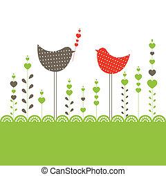 birds., vektor, háttér, ábra
