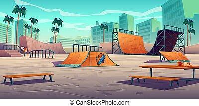 birkózik, városi park, korcsolyázik, tropikus