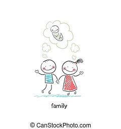 birth., várakozás, illustration., család, boldog