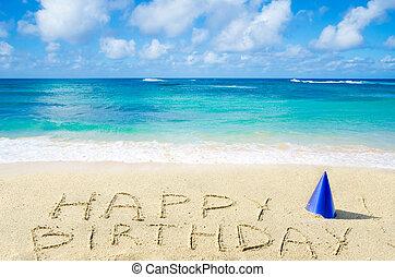 "birthday"", tengerpart, homokos, ""happy, aláír"