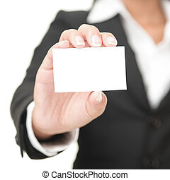 birtok, aláír, ügy, üzletasszony, kártya, -, tiszta