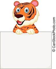 birtok, aláír, csinos, tiger, karikatúra