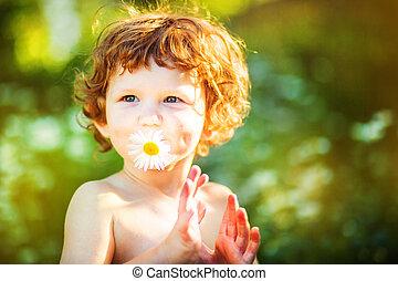 birtok, boldog, portré, gyermek, átmérő