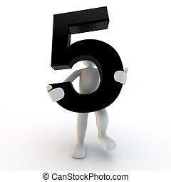birtok, emberek, betű, szám 5, fekete, emberi, kicsi, 3