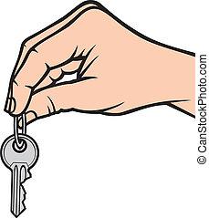 birtok, kulcs, kéz