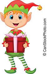 birtok, manó, csinos, karácsony, karikatúra