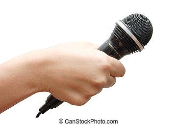 birtok, mikrofon, háttér, woman's kezezés, fehér