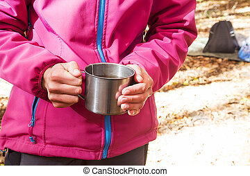 birtok, női, tea csésze, külső