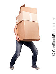 birtok, nehéz, dobozok, kártya, elszigetelt, ember, fehér
