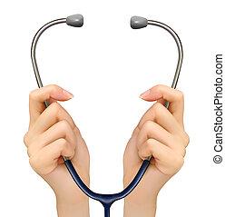 birtok, orvosi, háttér, vector., kézbesít, stethoscope.