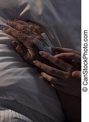 birtok, patient's, öregedő, caregiver, kéz