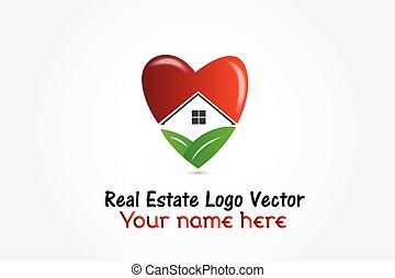 birtok, szív, épület, jel, tényleges, alakít, vektor