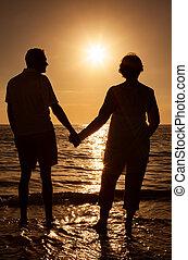 birtok, tropikus, napnyugta, párosít, kézbesít, tengerpart, idősebb ember