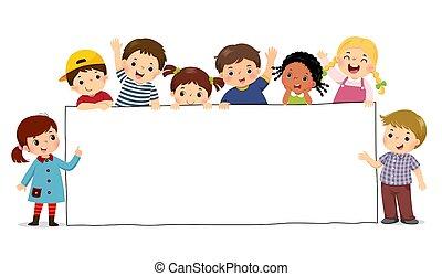 birtok, vektor, sablon, ábra, gyerekek, tiszta, karikatúra, banner., aláír, advertising.