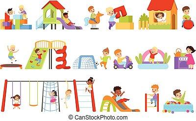 birtoklás, fiú, fehér, csúszó, játszótér, gyerekek, csúszás, móka, ábra, állhatatos, mászó, játék, háttér, apró, létra, vektor, lefelé, lány