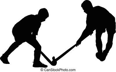 birtoklás, fiú, labda, árnykép, harcoló, játékosok, jégkorong