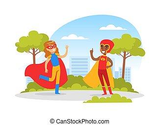 birtoklás, jelmezbe öltöztet, boldog, játék, csinos, öltözött, karikatúra, leány, ábra, gyerekek, fiú, liget, vektor, móka, superhero, szabadban