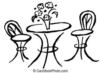 bisztró, asztal
