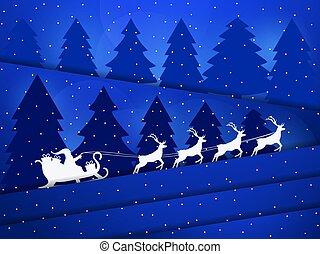 bitófák, dolgozat, style., ábra, klaus, tél, szent, sleigh, vektor, táj, elvág, reindeer., snowfall., éjszaka, karácsony