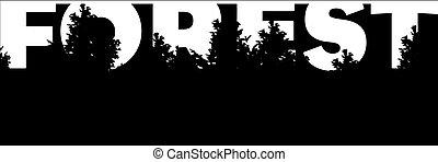 bitófák, erdő, transzparens, szó, árnykép
