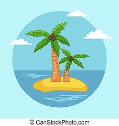 bitófák, sziget, ég, homok, pálma, waterscape, világos, kókuszdió, tropikus, tenger, kék