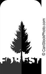 bitófák, tervezés, szó, erdő, árnykép, poszter