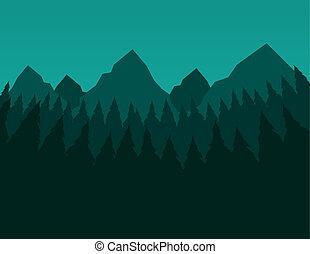 bitófák, zöld hegy