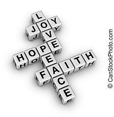 bizalom, béke, szeret, öröm, remény