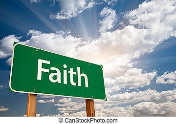 bizalom, elhomályosul, felett, aláír, zöld, út