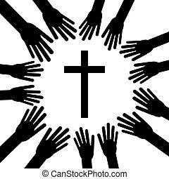 bizalom, keresztény, religion., kereszt, ábra, vektor, hands.