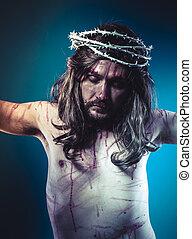 bizalom, krisztus, fejtető, kereszt, jézus, vallás, wounds, kálváriadomb, tövis, ábrázolás