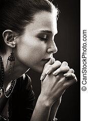 bizalom, nő, -, könyörgés, vallás