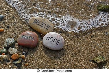 bizalom, rocks;, remény, elhisz
