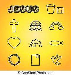 bizalom, vallás, keresztény, ábra, ikonok