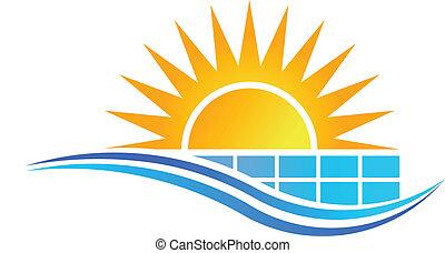 bizottság, nap, vektor, nap-, jel