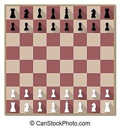 bizottság, vektor, sakkjáték, számolás