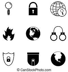 biztonság, állhatatos, ikon
