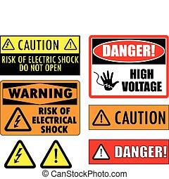biztonság, elektromos, cégtábla