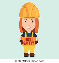 biztonság első, munkás, ikon