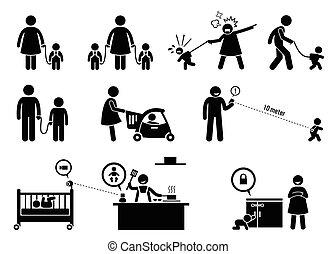 biztonság, equipment., monitor, gyermek