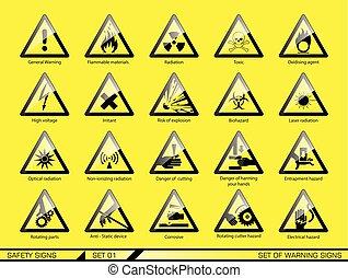 biztonság, figyelmeztetés, állhatatos, signs.