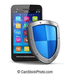 biztonság, fogalom, oltalom, antivirus, mozgatható