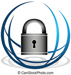 biztonság, globális, ikon