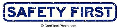 biztonság, grunge, bélyeg, először, white háttér, fóka, derékszögben, kék, gumi